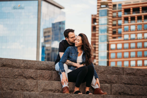 couple sitting together on stone steps