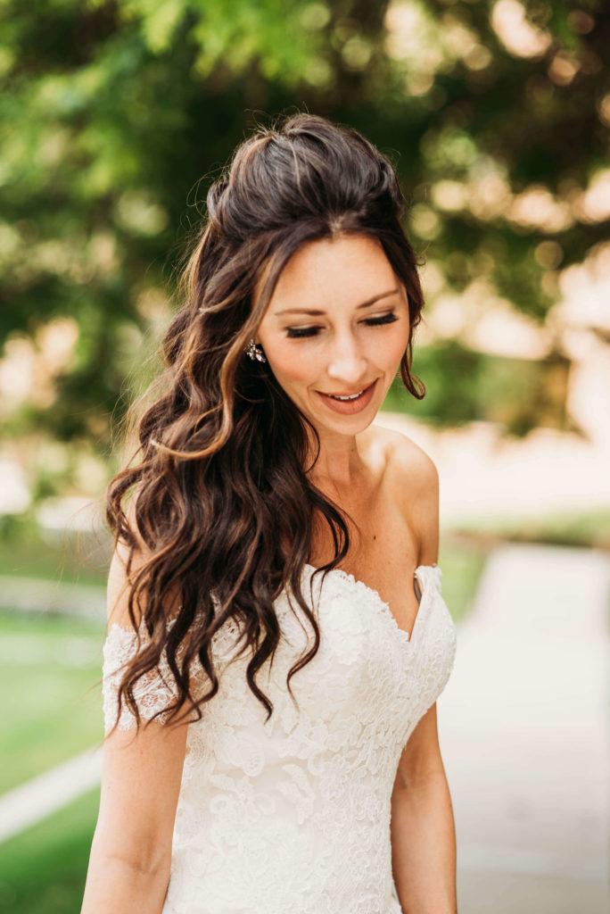 headshot of bride looking downwards
